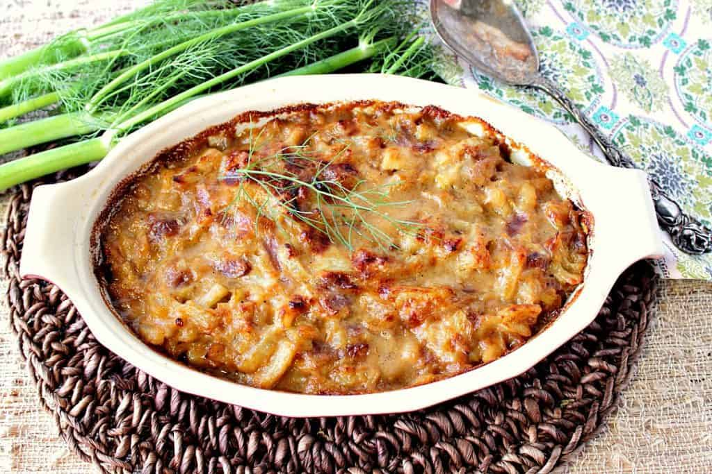 Deliciously Cheesy Baked Fennel Onion Gratin - Kudos Kitchen by Renee