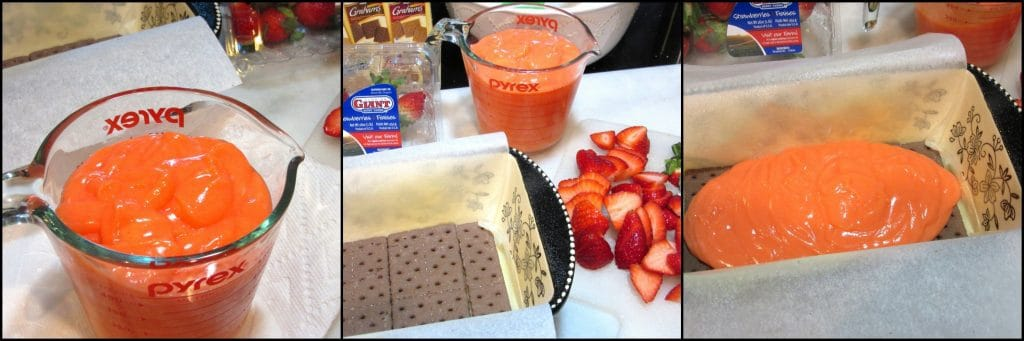 How to make easy No Bake Layered Chocolate Strawberry Pudding Cake with chocolate graham crackers, fresh strawberries, pudding, and topped with chocolate ganache. - www.kudoskitchenbyrenee.com