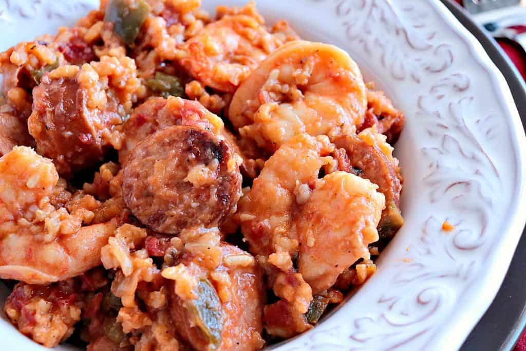 Sausage & Shrimp Jambalaya Kudos Kitchen Style - www.kudoskitchenbyrenee - smoked sausage - shrimp - brown rice - Cajun seasoning - Mardi Gras