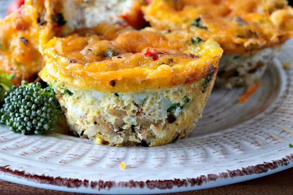 Close up of Healthy Quinoa Veggie Egg White Cups for Breakfast - kudoskitchenbyrenee.com