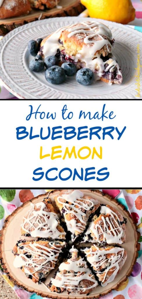 Vertical title text collage image of Blueberry Lemon Scones along with a title text overlay graphic in the center.