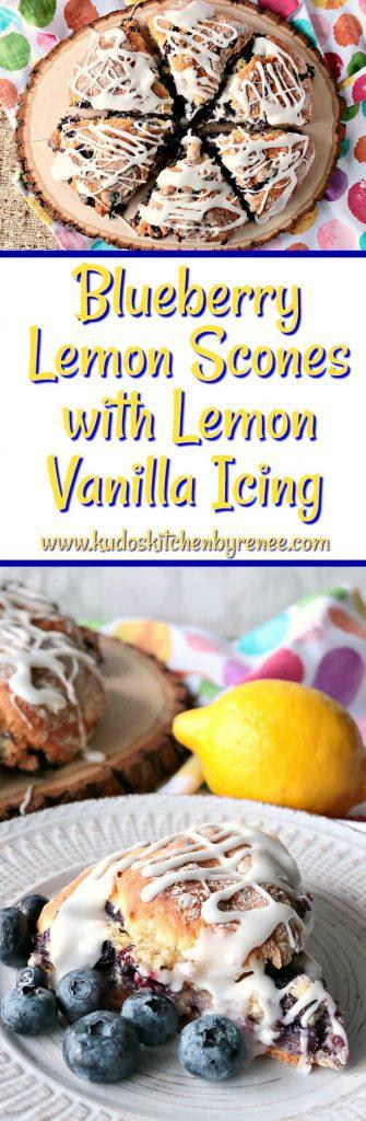 Tart & Tender Blueberry Lemon Scones with Lemon Vanilla Icing - www.kudoskitchenbyrenee.com
