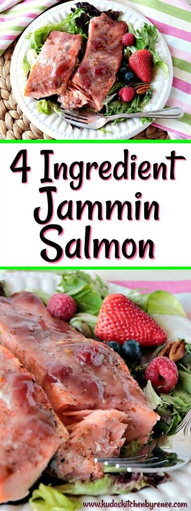 vertical title text collage image of jammin salmon.