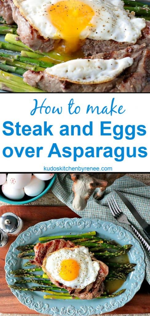Long collage title text image of steak and eggs over Asparagus