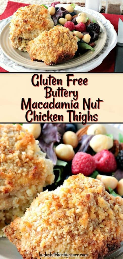 Gluten Free Macadamia Nut Chicken Thighs are tender, meaty, and buttery rich in flavor. These will soon become a family favorite with their light crunch, and mildly tropical flavor. - kudoskitchenbyrenee.com