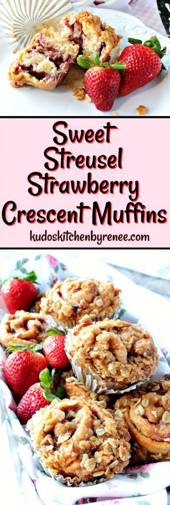 Title text collage images of strawberry crescent muffins.