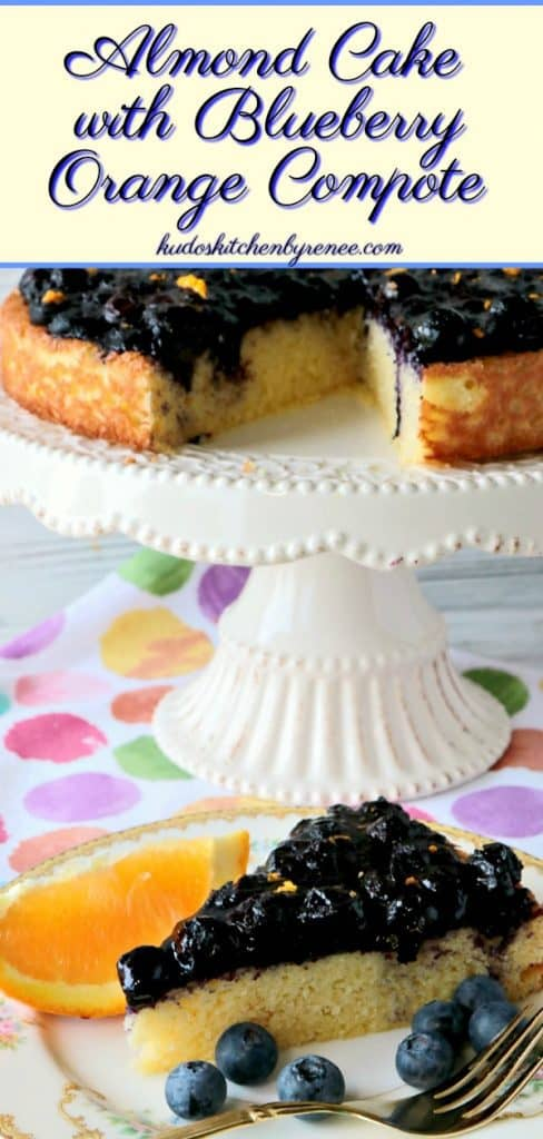 This Golden Almond Cake with Fresh Blueberry Orange Compote recipe won a full two thumbs up from my husband. He said it tasted like