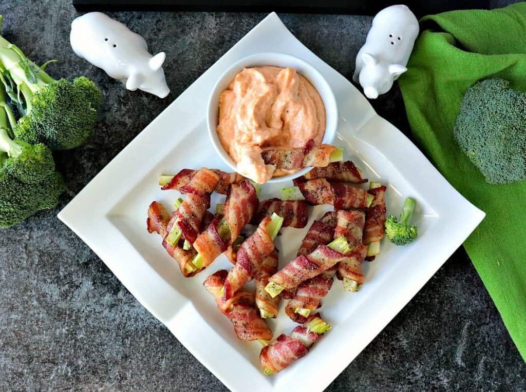 Keto Bacon Wrapped Broccoli Stalk Appetizers - kudoskitchenbyrenee.com