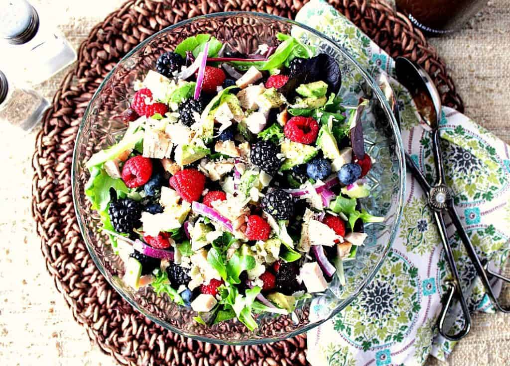 Berry Delicious Chicken Avocado Salad with Strawberry Balsamic Vinaigrette. - kudoskitchenbyrenee.com