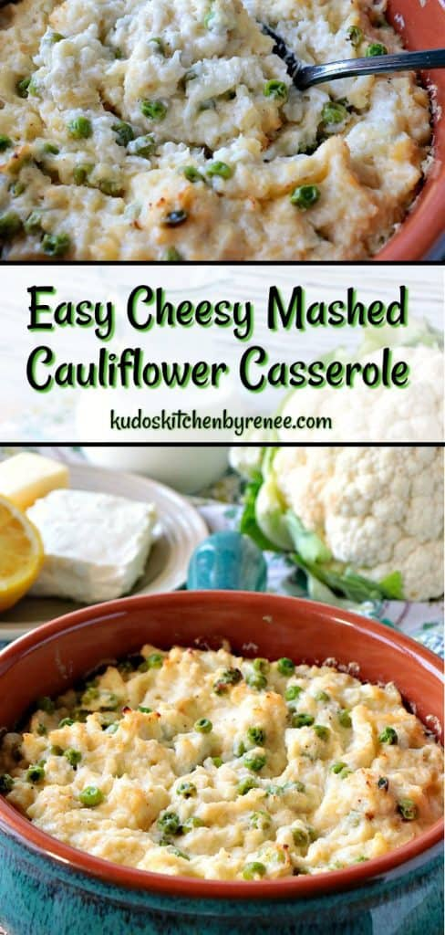 Vertical title text collage of cheese mashed cauliflower casserole.