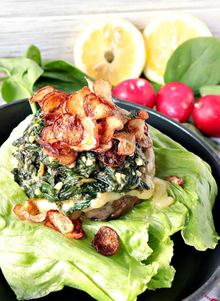 My mission, should I choose to accept, was to make a burger using the secret ingredients; lemon, spinach, cream, and radishes. The result is this 100% Beef Burger Topped with Creamy Lemon Spinach & Fried Radish Chips. What would you have made?