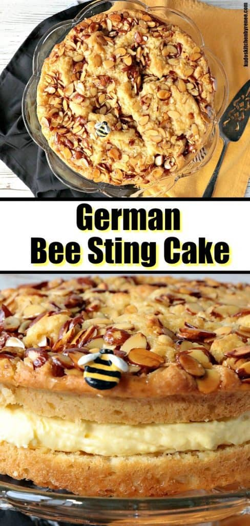 A photo collage of German bee sting cake with a title text overlay graphic