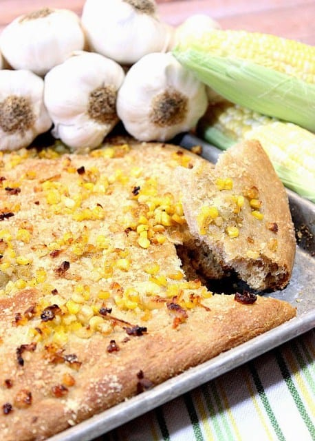 Garlic and sweet corn focaccia for Sweet Corn Recipe Roundup