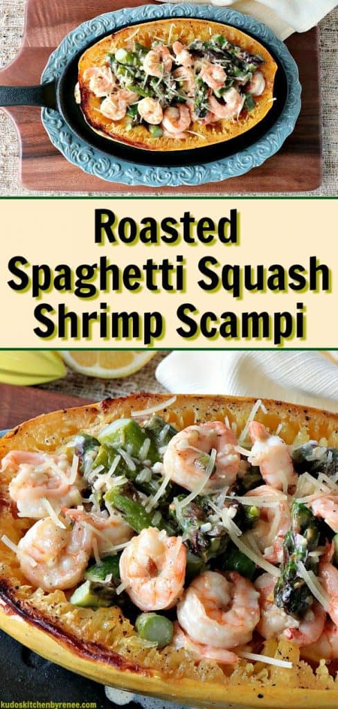 Late summer through mid-autumn is (in my opinion) when spaghetti squash is at their finest. If you've never cooked spaghetti squash before because you find them intimidatingand a little daunting, I hope I can take away some of those fears for you today with this delicious and easy recipe for Roasted Spaghetti Squash Shrimp Scampi. - kudoskitchenbyrenee.com