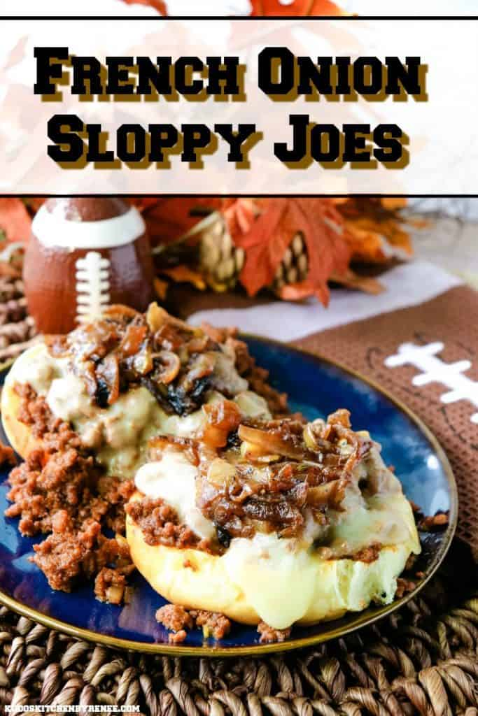 Title text image of French Onion Sloppy Joes on a blue plate with melted cheese.
