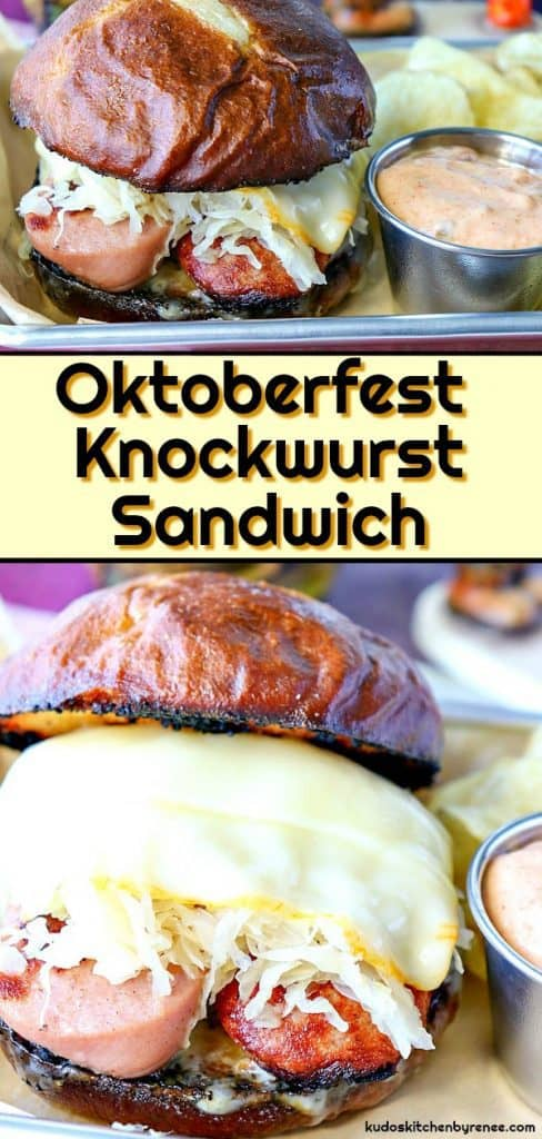 Vertical title text collage image of a knockwurst sandwich with melted Muenster cheese and sauerkraut.