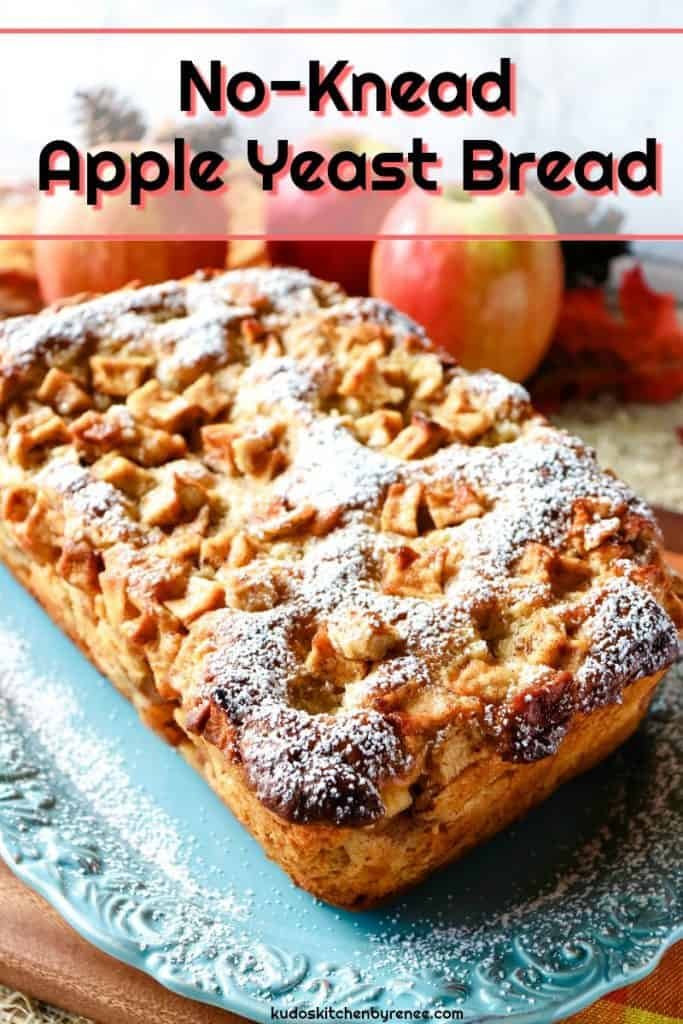 This delicious and sweet No-Knead Apple Yeast Bread is moist and flavorful. It's loaded with lots of fresh apple chunks and plenty of warm cinnamon. The aroma of it baking in the oven is something you need to experience, and its taste is out of this world! - kudoskitchenbyrenee.com