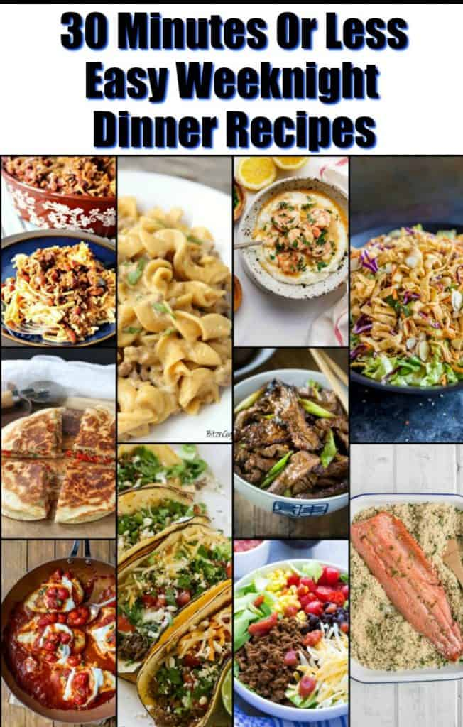 Title Text Image collage. Easy Weeknight Dinner Recipes