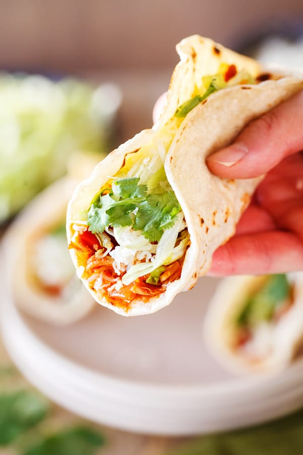 Easy Weeknight Dinner Recipes. A hand holding a soft shell taco.
