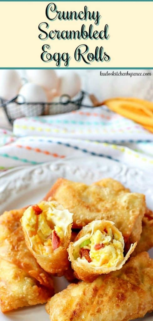 Scrambled Egg Rolls are simply the best breakfast you didn't know you needed! Be ready to have your taste buds rocked with these rolls! - kudoskitchenbyrenee.com