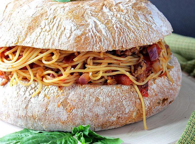 Spaghetti Stuffed Garlic Cheese Bread - kudoskitchenbyrenee.com
