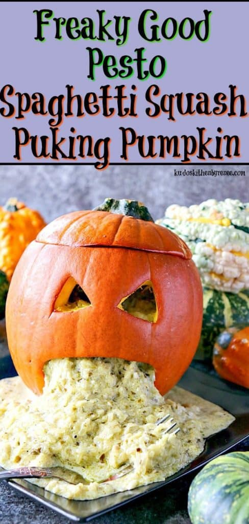 Vertical title text image of a puking pumpkin with basil pesto vomit for Halloween.
