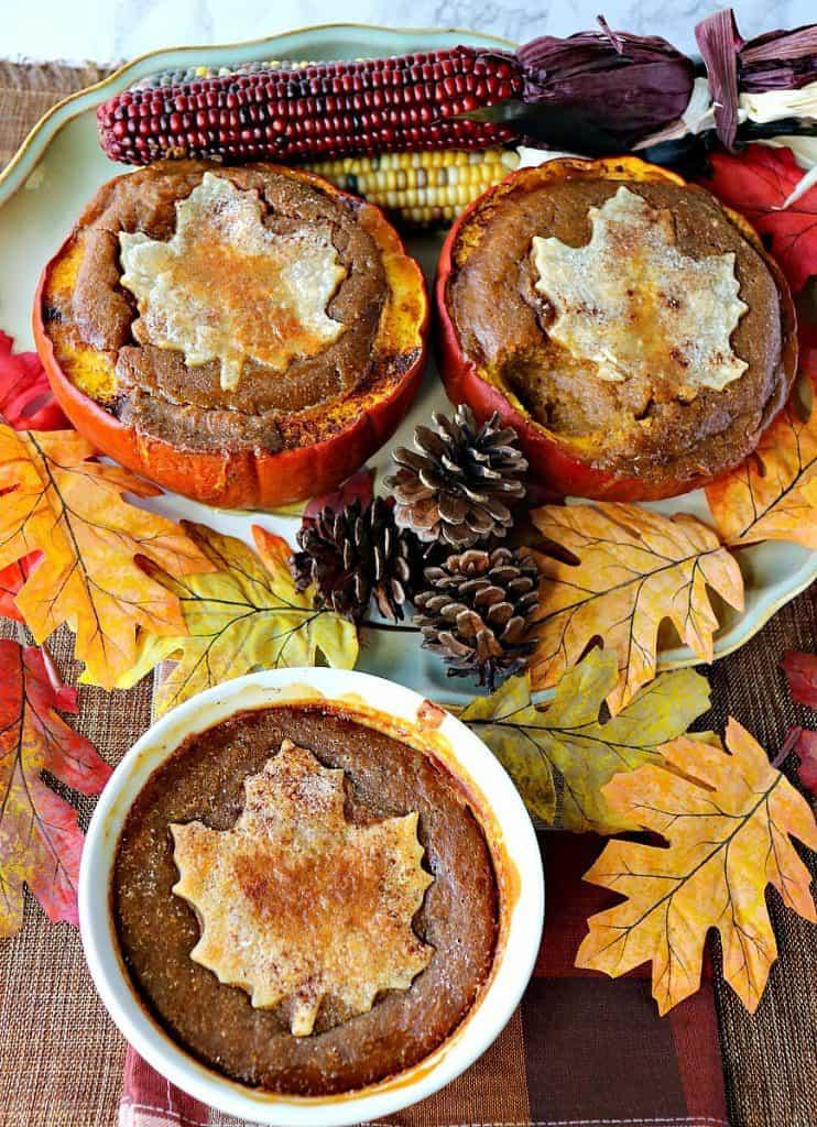 Rustic Pilgrim Pumpkin Pie Baked in a Pumpkin - kudoskitchenbyrenee.com