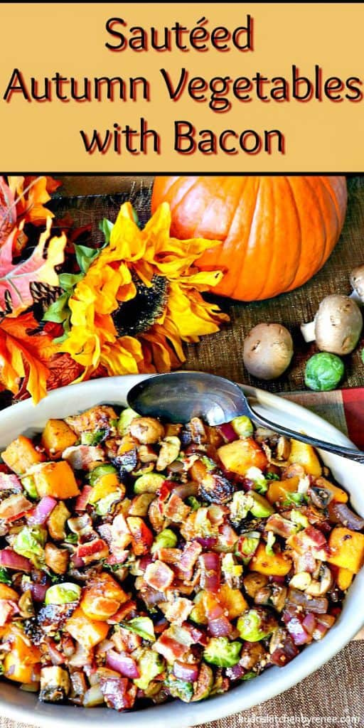 An overhead photo of a colorful vegetable side dish of Brussels sprouts, bacon, butternut squash and mushrooms with a large serving spoon.