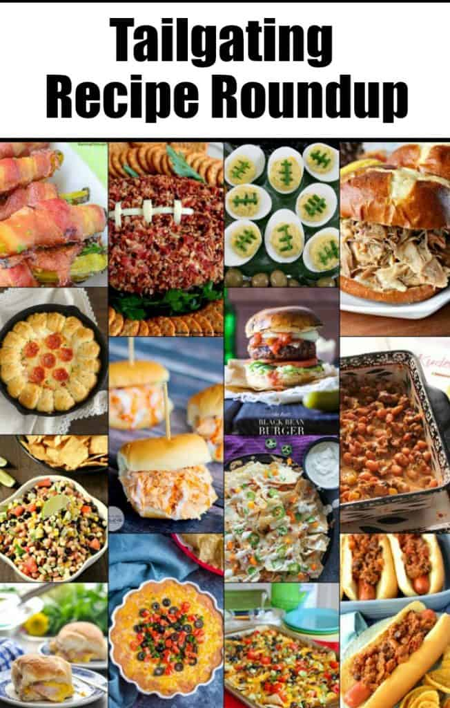 Title text collage image Tailgating Recipe Roundup