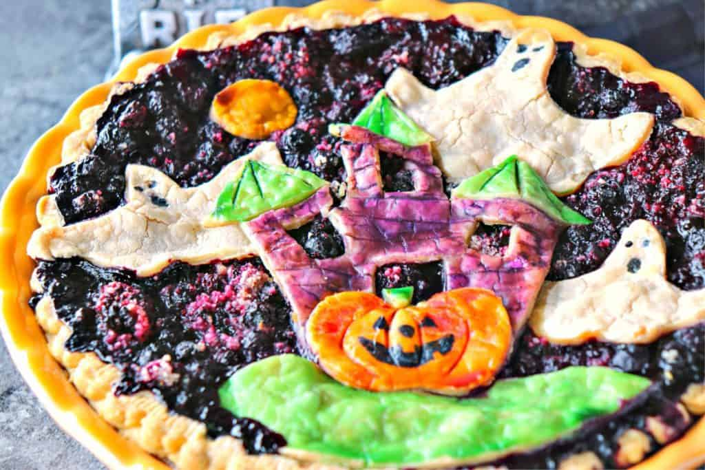 Closeup photo of a colorful boo berry pie for Halloween.