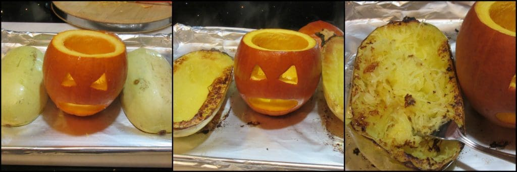 How to make a puking pumpkin with basil pesto spaghetti squash for Halloween.