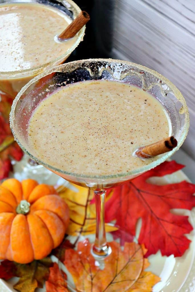 Closeup and overhead shot of two martinis with cinnamon sticks, autumn leaves and mini pumpkins.