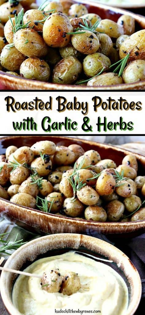 Vertical title text collage images of roasted baby potatoes with garlic fresh rosemary.