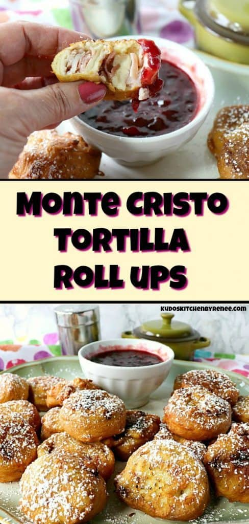 A vertical title text collage image of monte cristo appetizer roll-up dipped in raspberry jam.