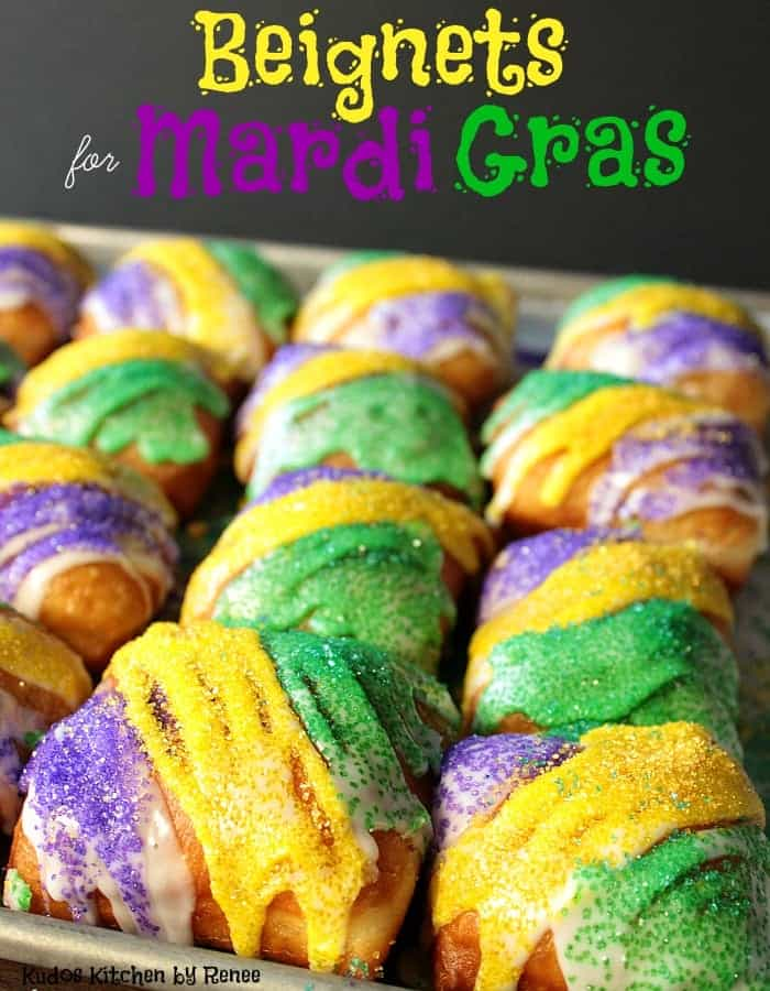 Closeup of purple, green and gold sanding sugar beignets with title text