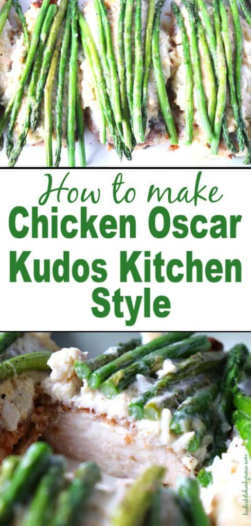 Chicken Oscar photo collage with asparagus and crab meat along with a title text overlay graphic