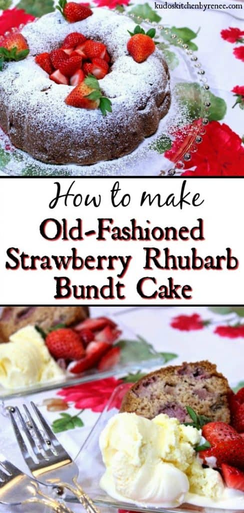 Vertical title text collage image of strawberry rhubarb cake with ice cream and fresh strawberries.