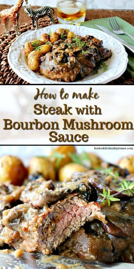 Title Text photo collage of steak with bourbon mushroom sauce.