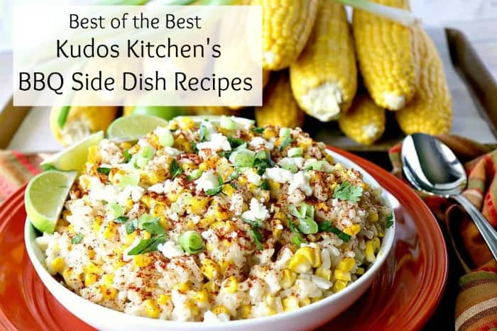 A bowl of Mexican Street Corn with green onions, and limes in a white bowl. Best BBQ side dishes
