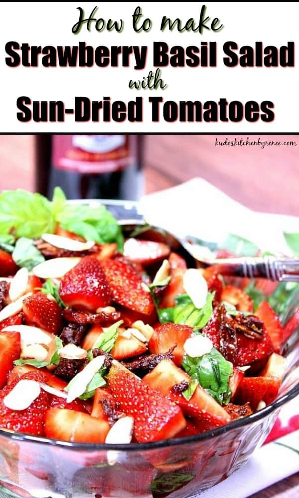 Strawberry Basil Salad with title text overlay.