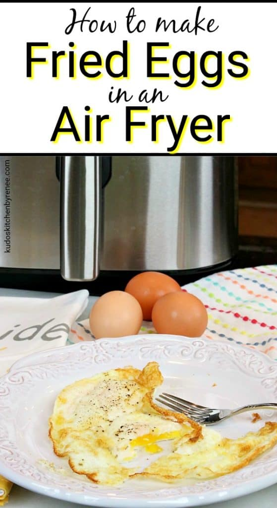Title Text Vertical photo of air fryer fried eggs.