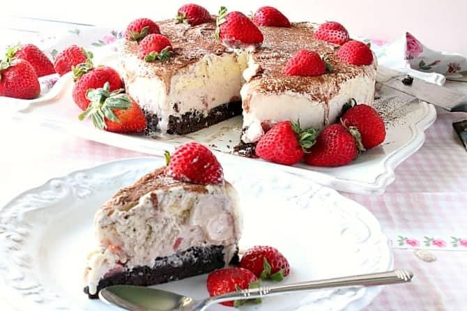 Brownie Bottom Neapolitan Ice Cream Cake