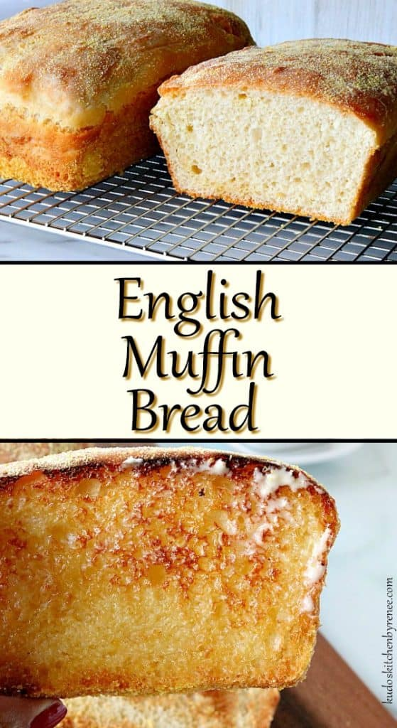 Vertical Title Text Collage Images of English Muffin Bread