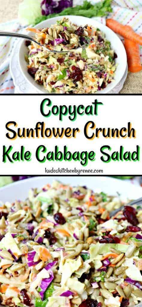 Collage image of sunflower crunch salad with colorful napkin and carrots in the background