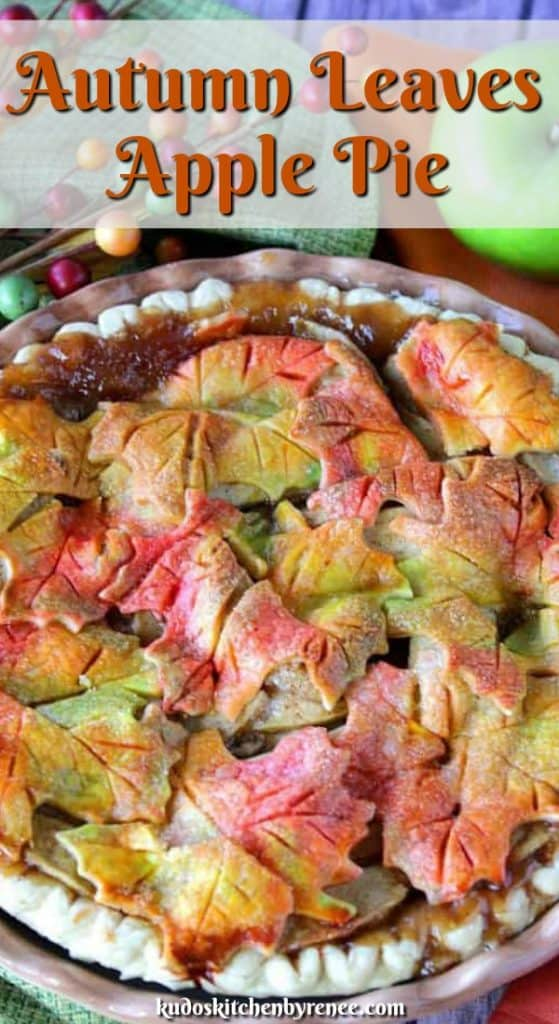 Closeup title text image of a colorful autumn leaves apple pie.