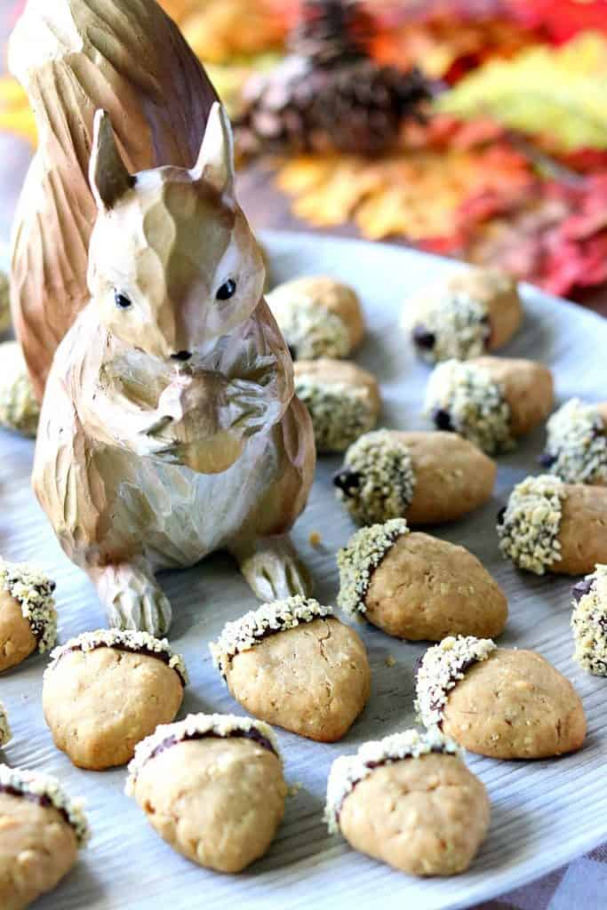 A vertical image of acorn cookies on a plate with a squirrel.
