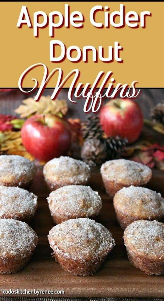Vertical title text image of apple cider donut muffins with cinnamon sugar coating and apples, leaves and pine cones in the background.