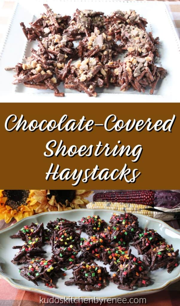 Vertical title text photo collage of two difference images of chocolate covered shoestring haystacks.