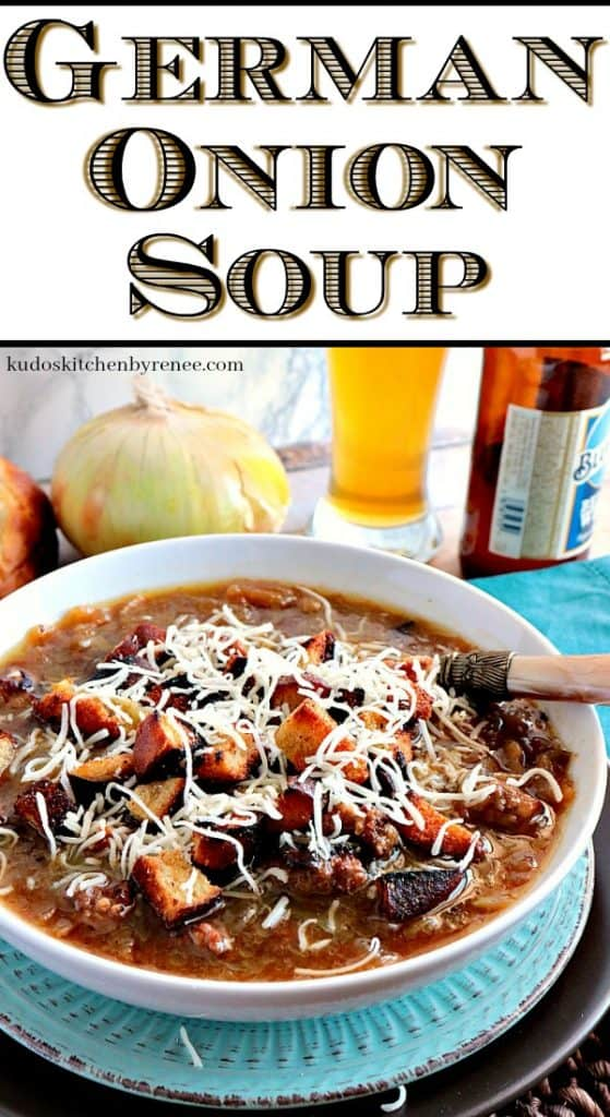 A title text overlay graphic of German onion soup with a bowl of soup, and onion, and some beer in the background.