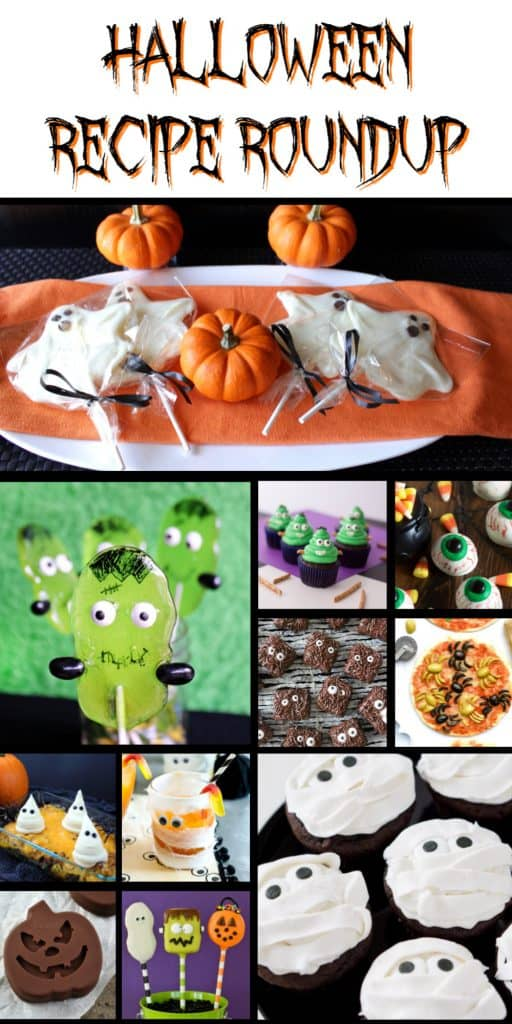 Title text collage image of Halloween recipes in a roundup.